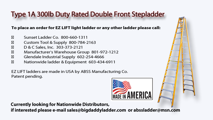 Type 1A 300lb Duty Rated Double Front Stepladder